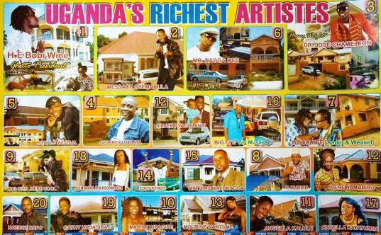 De twintig rijkste Oegandese artiesten, af te lezen aan hun huizen en auto's