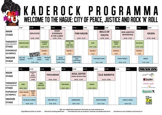 Programma Kaderock zaterdag 2 juni 2012